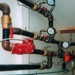 Climate controls are also connected to the boiler system.